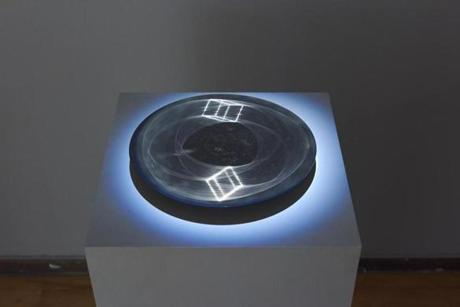 """Cube,"" one of Tristan Duke's scratch holograms."